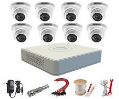 Trọn bộ 8 camera dome Hikvision 2.0MP 56D0T-IRP + DS-7108HGHI-F1 + ổ cứng 1TB+ 80m cáp tín hiệu+8 nguồn 12V+ 8 zắc BNC tên miền xem qua mạng trọn đời