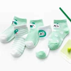 Set 5 đôi tất lưới cổ thấp hình thú đủ màu sắc cho bé 1-8 tuổi chất cotton chống trơn trượt không gây hầm hơi BBShine – T016