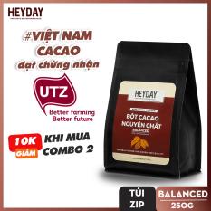 Bột cacao nguyên chất không đường Heyday – Balanced 12% bơ cacao tự nhiên – Túi zip 250g – Chứng nhận UTZ – Hỗ trợ giảm cân – Keto – Vị socola nguyên bản – Không hương liệu, phụ gia