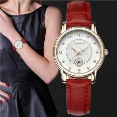 Đồng hồ nữ SANDA 198 mặt đính đá dây da mềm cao cấp kèm lịch ngày