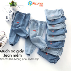 Quần bò giấy Jean mềm Azuna cho bé trai bé gái 10-19Kg