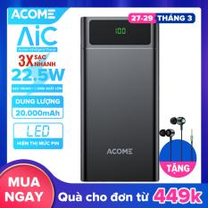 [Bảo Hành 18 tháng] ACOME AP201 Sạc Dự Phòng 20000mAh Sạc Nhanh 22.5W màn hình LED hiển thị 3 cổng sạc ra USB và Type-C – Hàng Chính Hãng