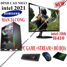 Bộ máy tính chơi game MỚI nhất i3 10100f (~i7 7700) màn 24 SamSung CONG mới full box 100%, Pc để bàn gaming chơi Pubg, Lol, CF, Fifa, Firefire…