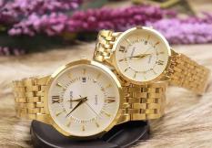 đồng hồ đôi nam nữ Bashuns dây vàng mặt trắng,BS0333 chống nước,chống xước tốt