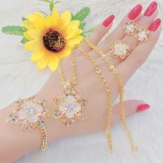 bộ trang sức đính đá họa tiết bông hoa thời trang chạm đá tinh xảo phong cách thời thượng Trang Sức Kado B4180662- làm quà tặng bất ngờ vô cùng ý nghĩa