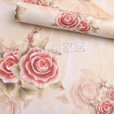 10m giấy dán tường hoa hồng 3d khổ rộng 45cm có keo dán sẵn