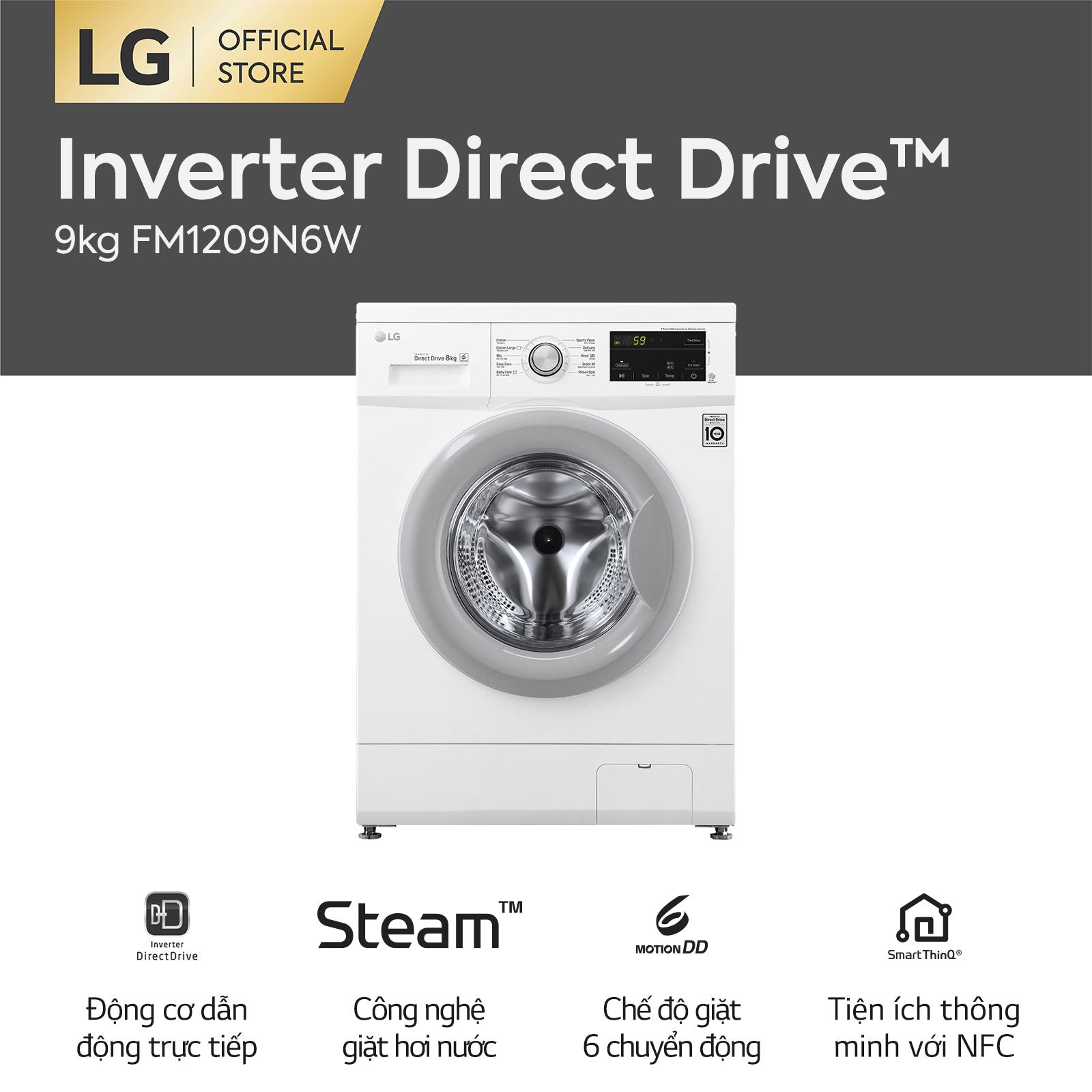 [Trả góp 0%][FREESHIP 500K TOÀN QUỐC] Máy giặt lồng ngang LG Inverter Direct Drive™ FM1209N6W 9kg (Trắng) – Hãng phân phối chính thức