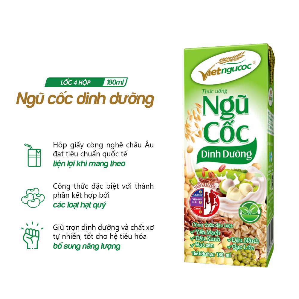 Thức uống Ngũ cốc dinh dưỡng Việt Ngũ Cốc lốc 4 hộp 180ml