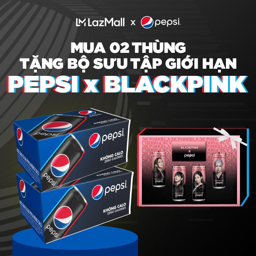 Thùng 24 Lon Nước Giải Khát Pepsi Không Calo x Blackpink Phiên Bản Giới Hạn (330ml/Lon) (Mẫu ngẫu nhiên)