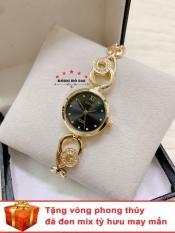 Đồng hồ nữ HALEI dây lắc thời thượng ( Dây vàng mặt đen ) – TẶNG 1 vòng tỳ hưu phong thuỷ