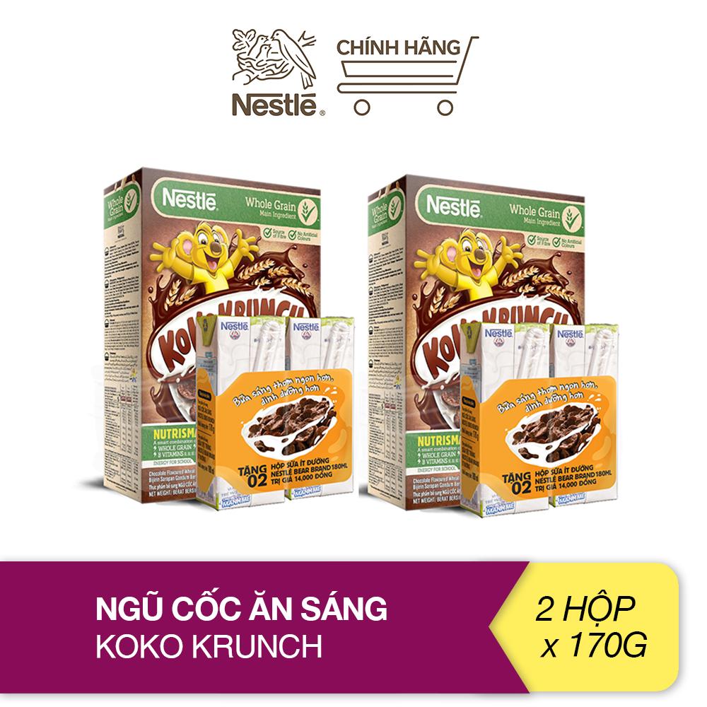 [Tặng 04 hộp sữa Nestlé ít đường 180ml] Combo 2 hộp ngũ cốc ăn sáng Koko Krunch (Hộp 170g)