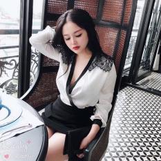 Set áo vol đắp xéo hở ngực sexy + chân váy dự tiệc hotgirl