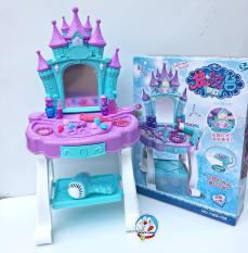 Đồ chơi bàn trang điểm Elsa màu xanh, dùng pin, có âm thanh và ánh sáng