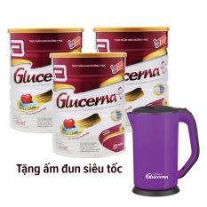 Bộ 3 lon sữa bột Glucerna Hương Vani 850g + Tặng ấm đun siêu tốc (màu ngẫu nhiên)
