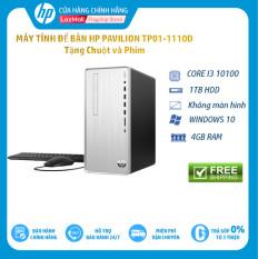 Máy tính để bàn HP Pavilion TP01-1110d, Core i3-10100(3.60 GHz,6MB),4GB RAM,1TB HDD,DVDRW,Intel UHD Graphics,Wlan ac+BT,USB Keyboard & Mouse,Win 10 Home 64,Silver,1Y WTY/180S0AA