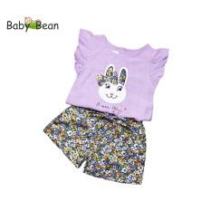 Đồ Bộ Đũi Áo Thêu Thỏ Quần Short Hoa Thắt Nơ Bé Gái BabyBean
