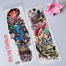 Combo 2 tấm hình xăm dán tattoo kín tay cá chép 17x48cm tuyệt đẹp (Chọn mẫu tùy thích. Mua 1 tặng 1)