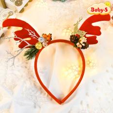 Băng đô cài tóc Noel hóa trang tuần lộc lung linh bọc vải nhung cao cấp phối nhiều họa tiết xinh xắn mùa Giáng sinh Baby-S – SP122