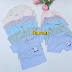 Bộ cộc tay cotton cho bé trai và bé gái sơ sinh họa tiết kẻ ngộ nghĩnh cài cúc giữa, hàng đẹp 3-13kg – BO57