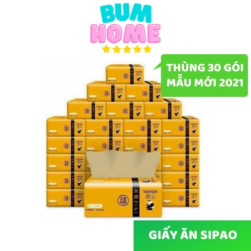 Thùng 30 gói giấy ăn sipao gấu trúc loại 1 dày (mẫu mới 2021) mỗi gói 300 tờ cao cấp
