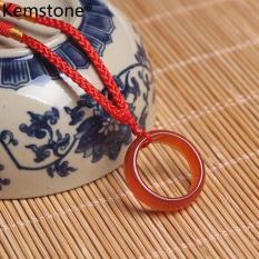 Mặt dây chuyền hình nhẫn bằng mã não đen mang lại may mắn Kemstone