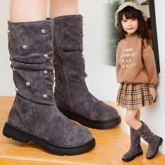 Giày boot bé gái bốt cao cổ da lộn phong cách Hàn Quốc sang chảnh siêu hot