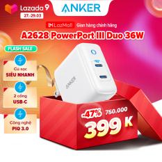 Sạc ANKER PowerPort III Duo 36W 2 cổng USB-C công nghệ PIQ 3.0 – A2628
