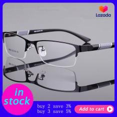 Kính cận thị cho nam viền nửa gọng, ống kính PC chống bức xạ/mỏi mắt, giá siêu tốt – Wangguangkuan – INTL