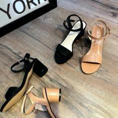 Sandal gót tròn 7 phân da bóng