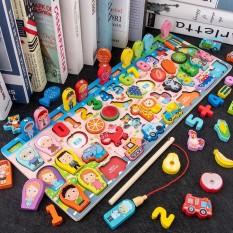 Bộ đồ chơi câu cá và ghép số học đếm 63 chi tiết, bộ bảng số thông minh bằng gỗ cho bé
