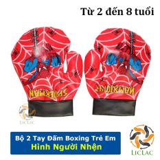 Bộ 2 găng tay Boxing hình Người Nhện cho bé, găng tay đấm bốc trẻ em chất liệu da mềm an toàn cho bé – LICLAC