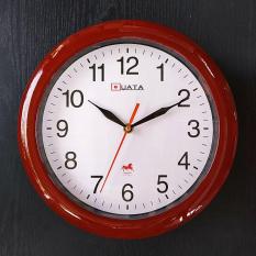 Đồng hồ treo tường tròn – màu nâu – size 28cm – Kim Giật và Kim Trôi