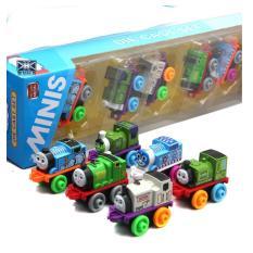 Mô hình tàu hỏa thomas mini bằng KIM LOẠI đồ chơi trẻ em bộ gồm 6 xe