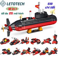 Bộ lắp ráp lego TÀU NGẦM quốc kỳ Việt Nam 12 trong 1, tối đa 25 mô hình 518 chi tiết
