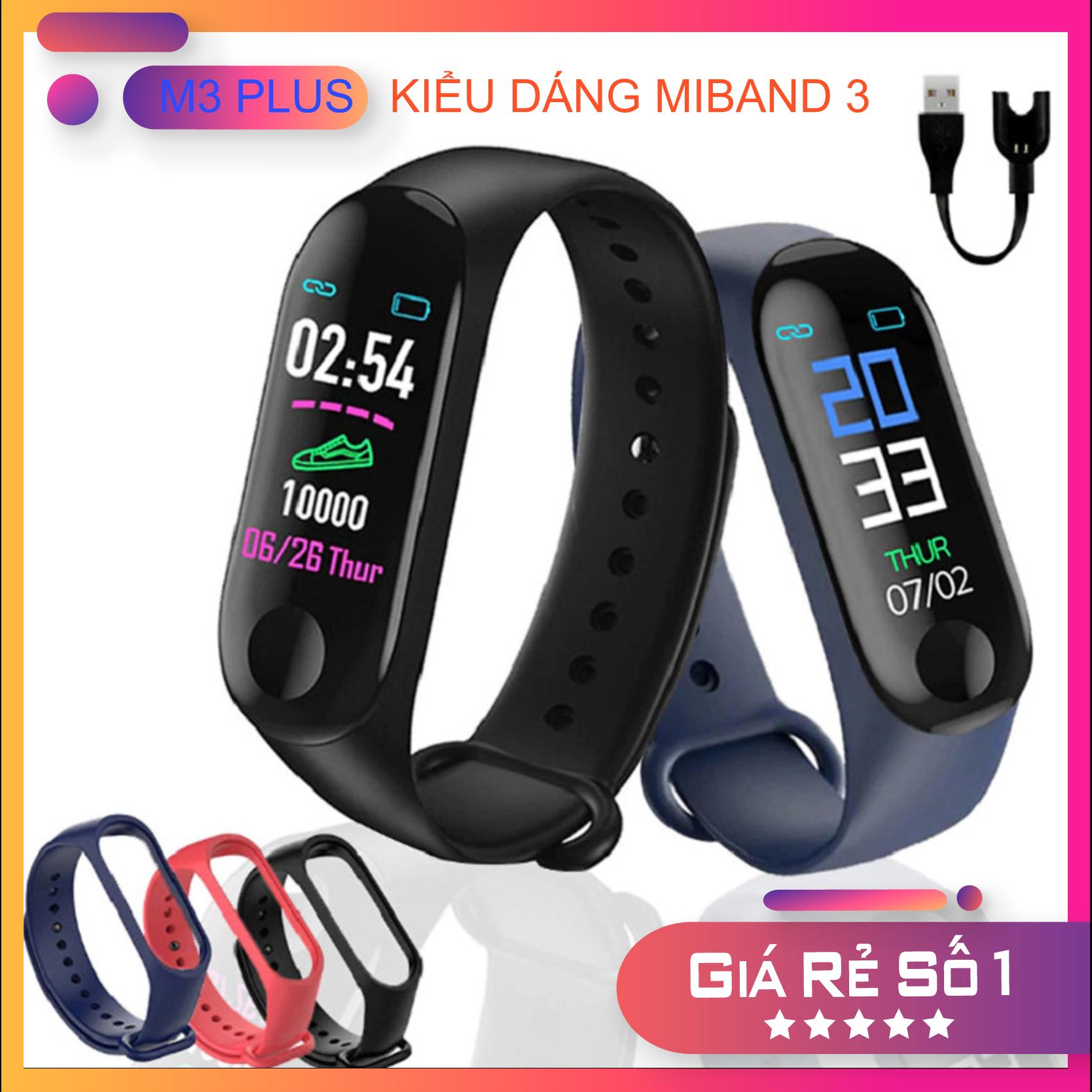 Vòng đeo tay thông minh M3 Plus kiểu dáng Xiaomi Band 3 – Tặng kèm dây đeo thay thế – Bluetooth, chăm sóc sức khoẻ hoạt theo dõi hoạt động thể thao. Bảo hành 6 tháng