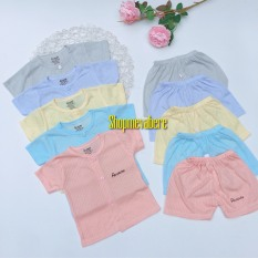Bộ cộc tay vải tăm tre cao cấp, cài cúc giữa cho bé trai bé gái sơ sinh 3-13kg – BO56