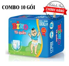 Combo 10 gói tã quần Bino XXXL Bigsize 14 miếng cho bé 18 – 35kg, màng đáy thoáng khí, ngăn thấm ngược, chống tràn hiệu quả
