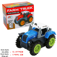 Xe ô tô đồ chơi chạy pin,xe tải nông trại cho bé, chạy bằng pin tiểu (màu xanh bánh xanh -chưa kèm pin) nhựa ABS an toàn