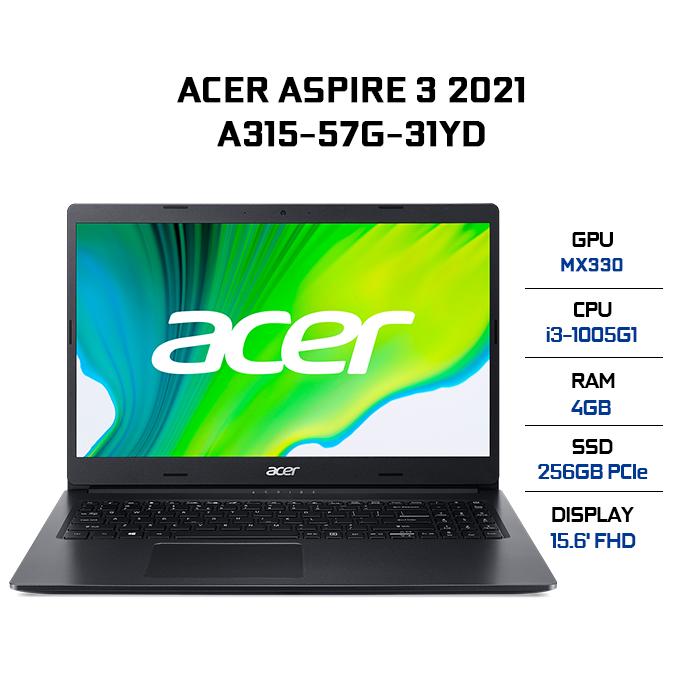 Laptop Acer Aspire 3 A315-57G-31YD i3-1005G1 | 4GB | 256GB | VGA MX330 2GB | 15.6′ FHD | Win 10