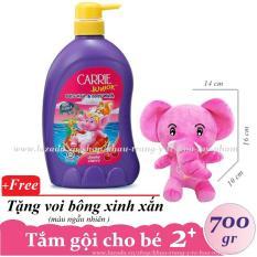 CARRIE JUNIOR-Tắm gội toàn thân cho bé hương Cherry 700 gr + Tặng voi bông ( màu ngẫu nhiên )