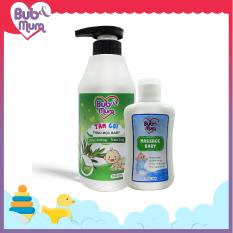 Combo Sữa Tắm Gội thảo mộc chiết xuất Trầu Không – Tràm Trà 500ml và Dầu Massage cho bé 100ml BuB&MuM
