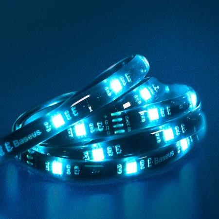 Dây đèn LED ánh sáng Baseus Cool Black USB Colorful Electronic Sports Game Light Strip Standard Version (DGKU-01) với 4 pin RGB đầu 12V điều khiển chiếu sáng cho máy tính