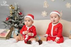 Set body chip quần dài đỏ kèm mũ cotton sợi tre Jingle BU