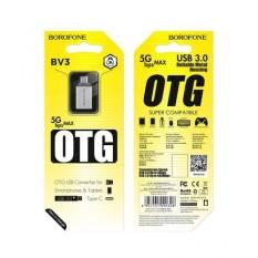 Đầu Chuyển OTG TYPE-C, Đầu chuyển borofone BV3 OTG USB sang Type-c chính hãng, Đầu Cáp Chuyển OTG BOROFONE BV3 USB-A Sang Type-C, USB 3.0
