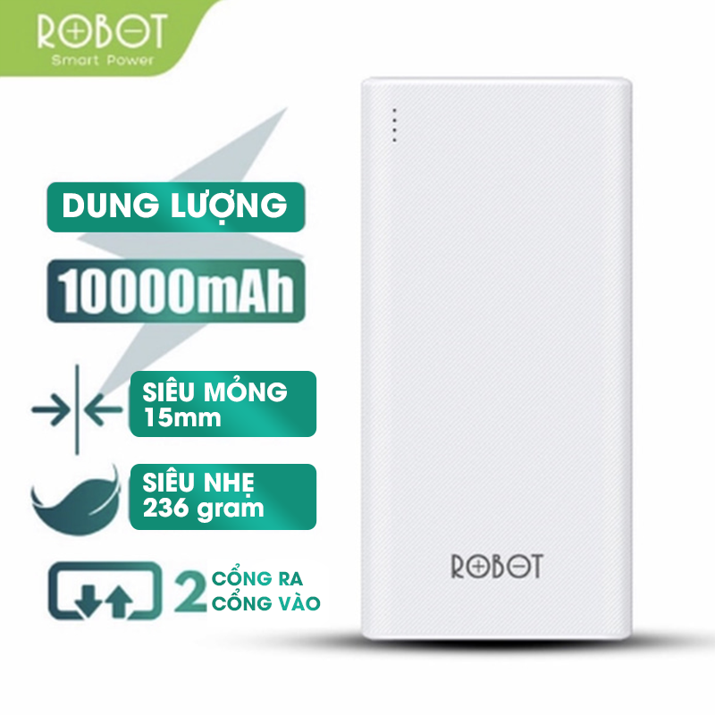 [BH 12 tháng 1 đổi 1] Sạc dự phòng ROBOT RT170 10000mAh thiết kế nhỏ gọn 2 cổng USB và 2 cổng Micro Type-C tặng dây sạc Micro – Hàng chính hãng