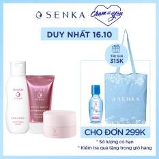 Bộ sản phẩm đánh thức làn da trắng hồng Senka (CCSerum 40g+White Beauty Glow Gel Cream 50g+White Beauty Lotion 200ml)