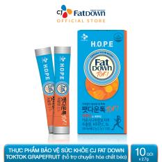 Thực phẩm bảo vệ sức khỏe CJ FATDOWN TOKTOK GRAPEFRUIT hỗ trợ chuyển hóa chất béo (2.7g x 10)