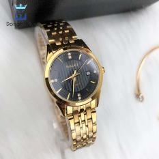 Đồng hồ nữ chống nước cao cấp dây kim loại Halei HL562 vàng + tặng kèm dự phòng pin AG4 + lắc tym vàng