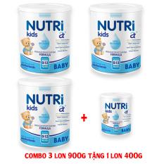 [Combo 3 lon 900g + 1 lon 400g NUtrikids] Sữa Nutri kids A+ Baby/ Sữa Nutri kids A+ Pedia/ Sữa Nutri kids A+ Grow/ Sữa Nutri kids A+ Dê