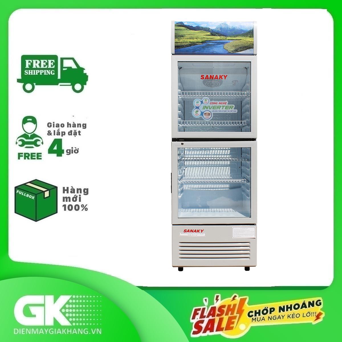 [ SƯU TẬP VOUCHER 500K] TRẢ GÓP 0% – Tủ mát Inverter Sanaky VH-408W3L 400 lít – Bảo hành 2 năm